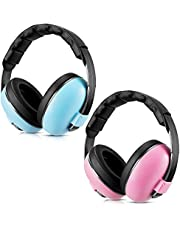 2 Pieces Baby Ear Protection Baby Noise Cancelling Headphones Baby Ear Muffs Adjustable Noise Reduction Earmuffs for Babies Toddlers Infants 0-3 Years, Blue and Pink
