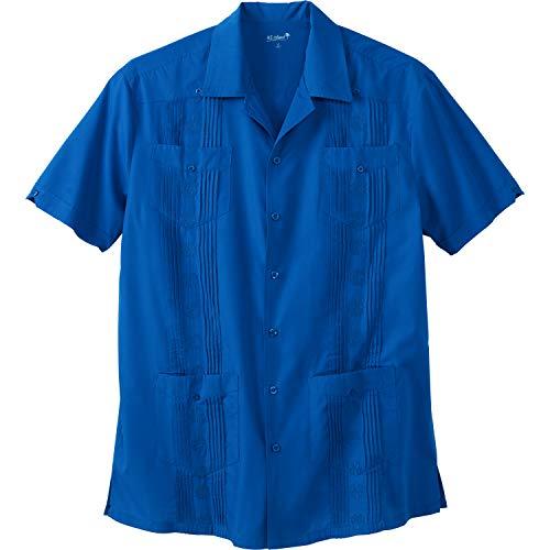 KS Island Men's Big & Tall Short-Sleeve Guayabera Shirt, Santorini Blue Big-6XL ()