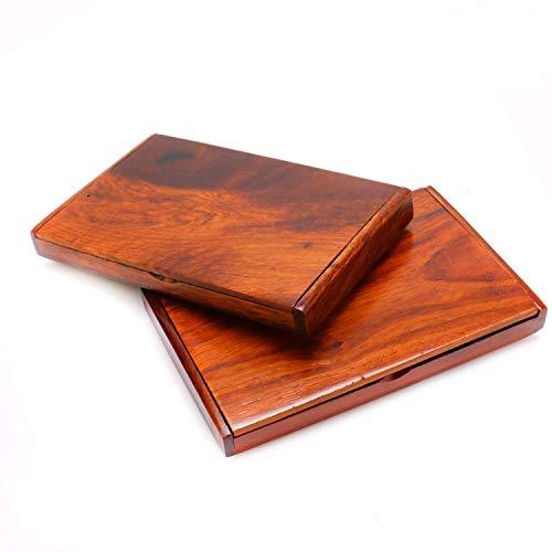 JETEHO 2 PCS Wood Business Card Holder Natural Rosewood Portable Business Card Holder Case