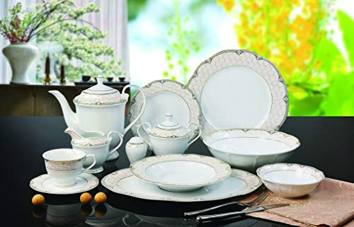 Royalty Porcelain 57-pc Banquet Dinnerware Set for 8, Bone China (Loren)