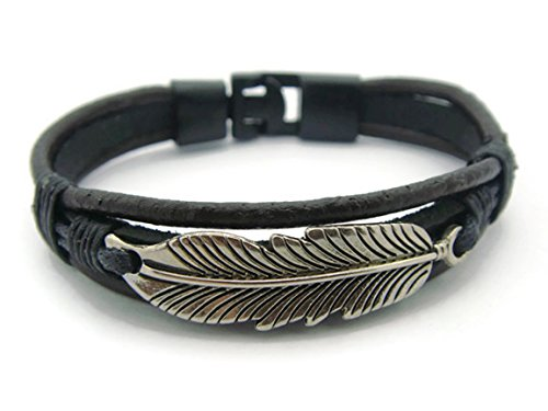 APECTO Jewelry Vintage Tibetan Style Alloy Black Leather Rope Bracelet Charms Bangle Bracelet, Feather
