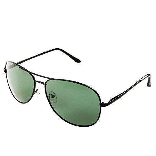 Pro Pilot Sunglasses | Lightweight Polarized Mirrored Aviator Sunglasses for Women and Men | Sturdy Metal Frame Shatterproof Cool Dark UV 400 Protection Resin Lens | Black Lens Black Frame - Sunglasses In Are Now Style Which