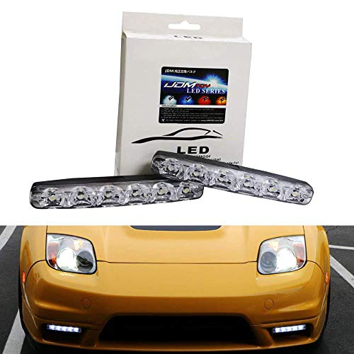 iJDMTOY (2) Universal Fit 6000K Cool White 6-LED Daytime Running Lights For Cars, Trucks, etc (Corolla Toyota 1997 Kit Body)