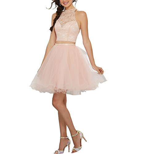 Homecoming Beauty Lace Women's Blush Tulle Gown Dress Short Bridal Prom L019 6qxxZ5XrwI