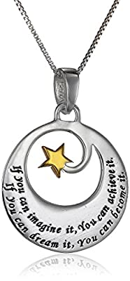 Two-Tone Sterling Silver and Yellow Gold Inspirational Pendant Necklace, 18""
