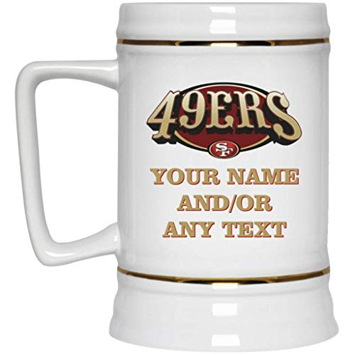 Custom Personalized San Francisco 49ers Beer Mug 49ers Logo Beer Stein V3 22 oz White Ceramic Beer Cup NFL NFC Perfect Unique Gift for any SF 49ers Fan ()