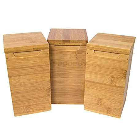 69605cb2e811e Set of 3 Bamboo Wooden Storage Canisters - Tea Coffee Sugar  Amazon.co.uk   Kitchen   Home