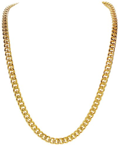 Necklace - Mens 8 MM Stainless Steel Gold Tone 30 Inch Chain - Ricki's Gold Hip Hop Curb Chain