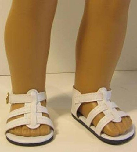 The Wishlist Store White Sandals Shoes ~ Doll Clothes for 18 Inch Dolls, Fits American Girl 4ctnwt