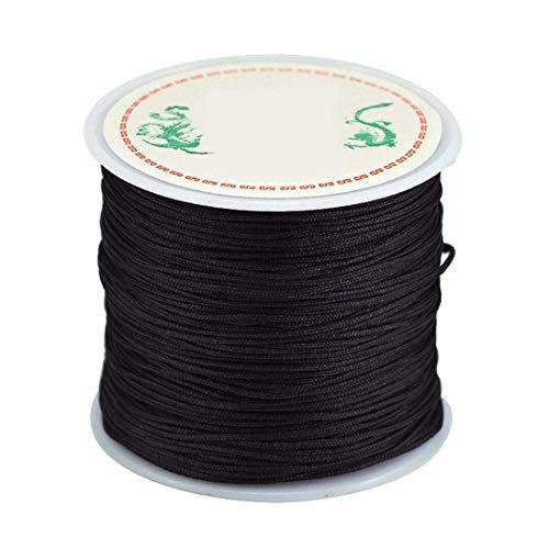 - 0.8mm Nylon Cord, Thread Chinese Knot Macrame Rattail Bracelet Braided String (Black)