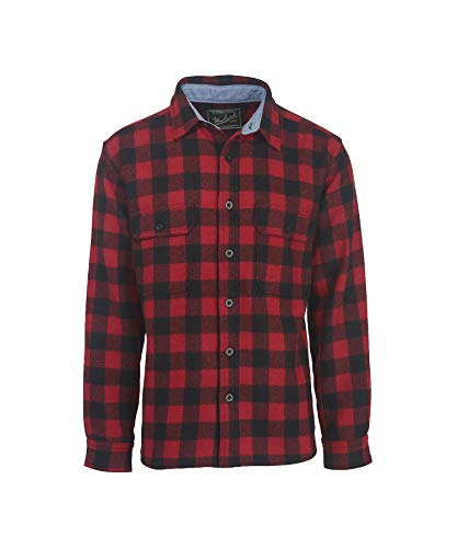 Woolrich Men's Wool Buffalo Shirt, Red/Black, Large ()