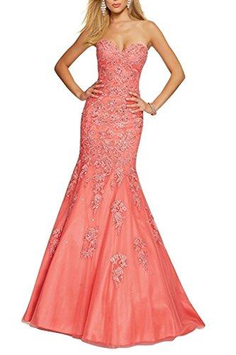 Abschlussballkleider Spitze Fesltichkleider La Hell mia aus Trumpet Lang Gruen Braut Partykleider Abendkleider Wassermelon HU0waqPH
