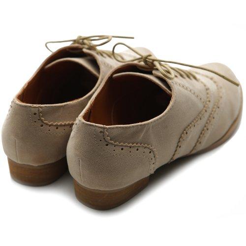 Ollio Scarpa Da Donna Balletto Piatto In Pelle Scamosciata Finta Pelle Scamosciata Con Lacci Beige Oxford