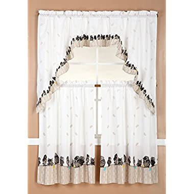 RT Designers Collection Ruffle Kitchen Curtain Tier and Swag Set, 30 x 36  Tier/60 x 36  Swag, Owl