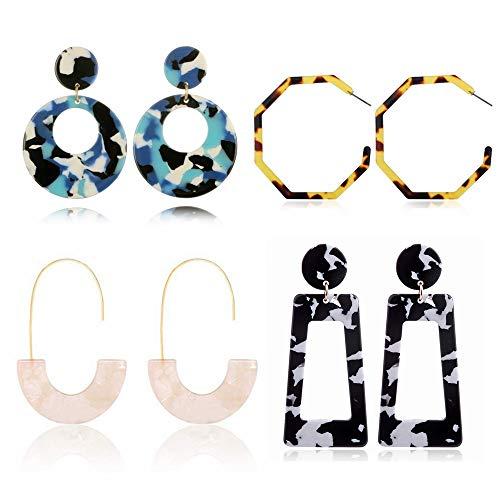 SEVENSTONE 4 Pairs Acrylic Earrings Statement Mottled hoop Resin for Women Girls Dangle Boho Blue Circle Tortoise Shell Jewelry Set