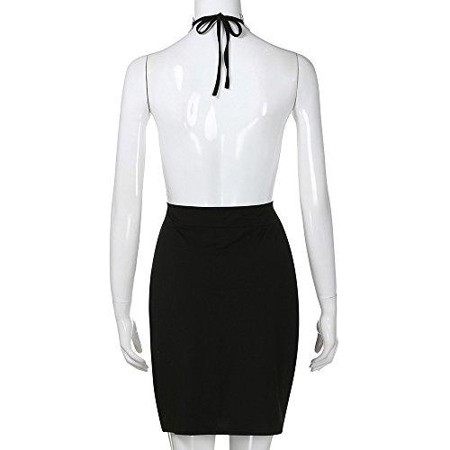 Sexy Halter Party Dress, Sale Womens Summer Deep V Neck Backless Slit Sequin Clubwear Night Mini Cami Dress (Black, M) by QIBOOG (Image #7)