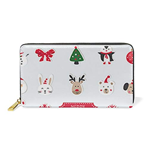 8' Leather Bi Fold Wallet - Cute Santa Claus Costume AccessoriesWomen Large Capacity Genuine Leather Bifold Multi Card Organizer travel Wallet with Zipper Pocket, Stylish And Portable Purse.