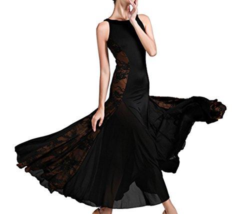 Modern dance dress Hollow lace National standard dance Social dance Waltz dress black M (Waltz Dress Dance)