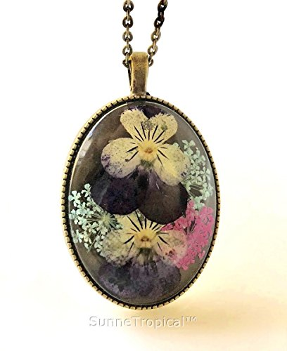 Pansy Real Pressed Flower Vintage Pendant Necklace