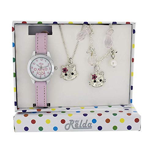 (Relda Kids Kitten Jewellery & Watch, Necklace & Bracelet Girls Gift Set REL23)