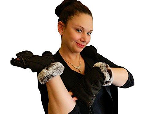 Women's Brown Napa Leather Genuine Shearling Sheepskin Fingerless Gloves