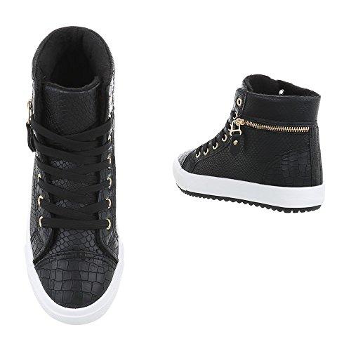 para Mujer Zapatillas Plano Altas d29 Zapatillas Design Zapatos Negro Bn Ital qwP4Ex