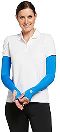 Solbari UPF 50+ Womens Sun Protection Arm Sleeves, Coolasun Collection - Small/Azure/With Thumbholes - UV Protection, Sun Protective