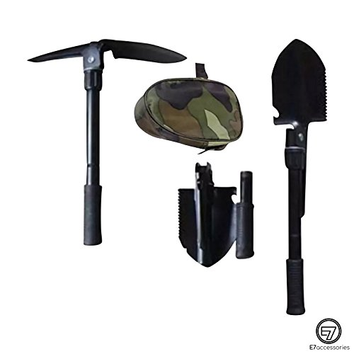 E7 Mini Shovel For Multi Use Foldable Army/Military Shovel For Gardening Camping Hiking and Emergencies. Military Pouch Included. by E7accessories