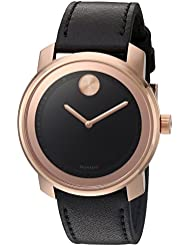 Movado Mens Swiss Quartz Gold-Tone and Leather Watch, Color: Brown (Model: 3600376)