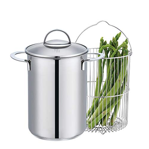 Mr. Rudolf Chef's 18/10 Stainless Steel Classic 4 Quart Vegetable Asparagus Steamer Pot with Basket and Lid Pasta Stovetop Steamer Cooker