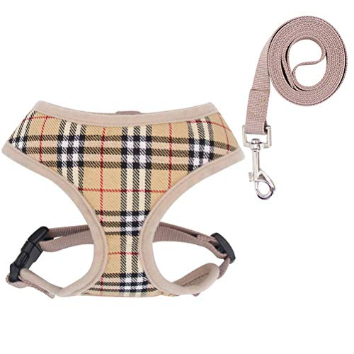 OFPUPPY Soft Mesh Dog Harness with Leash - No Pull Dog Vest Plaid Soft Air Mesh Padded, Beige