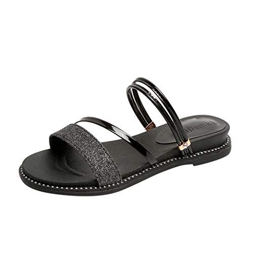 Chunk Bling - Minisoya Womens Casual Bling Outdoor Slippers Slides Sandals Flat Shoes Flip Flops Black