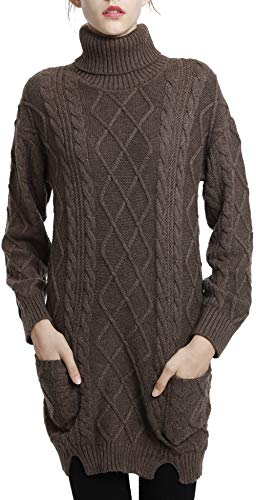 Liny Xin Women's Cashmere Knitted Turtleneck Long Sleeve Winter Wool Pullover Long Sweater Dresses Tops (M, Brown)