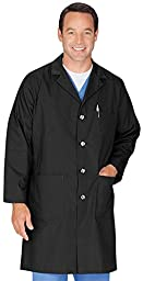 Meta Men\'s and Women\'s Unisex 40 Inch Labcoat With Three Outside Pockets And One Inside Pocket (Black, Medium)