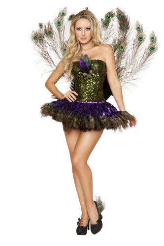 Roma Costume 3 Piece Tempting Peacock Costume, Green/Purple, Small (Sexy Peacock Costume)