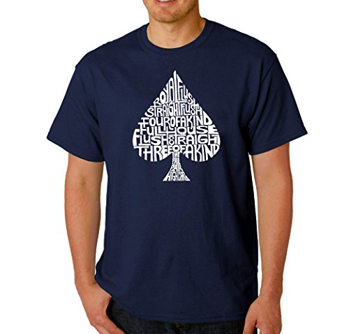 Men's Graphic Novelty T-shirt Tees 100% Cotton - Order of Winning Poker Hands - Navy Blue - XX-Large