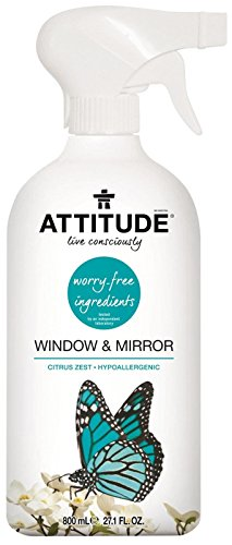 ATTITUDE Hypoallergenic Window & Mirror Cleaner, Citrus Zest, 27.1 Fluid Ounce