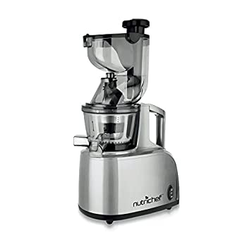 NutriChef Slow Masticating Juicer Extractor, Countertop Cold Press Juicer, Quiet Motor, with Juice Container and Cleaning Brush, Healthy Snack Fruit Vegetable Juice, Baby Food, Stain Resistant