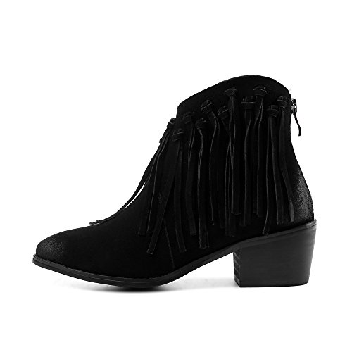 Nine Seven Suede Leather Womens Round Toe Chunky Heel Tassels Decorated Handmade Classy Ankle Boots Black 3QwWUzh