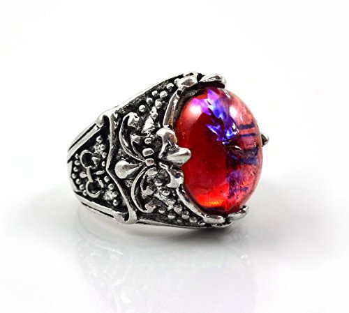 Little Gem Girl 10x14mm Mexican Opal Ring Glass Dragons Breath Red Blue Opal Ring in Antique Silver Gothic Ring