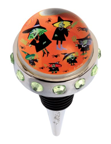 Santa Barbara Design Studio Metal and Glass Dome Bottle Stopper, Witches