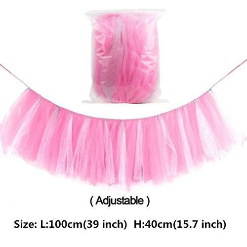 Lansian Tulle Tutu Table Skirt for 1st Birthday Girl High Chair Decorations Pink and Silver for Party, Wedding and Home Decoration (Pink&Silver, 39'' Length x 15.7'' Height) by Lansian (Image #3)