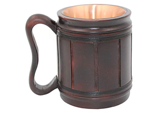 (5MoonSun5's Handmade wooden Beer Mug copper Cup Carved Natural Beer Stein Old-Fashioned Barrel Brown Vintage Bar accessories - Wood Carving Beer Mug Great Retro Design Beer Tankard for Men 16oz,)