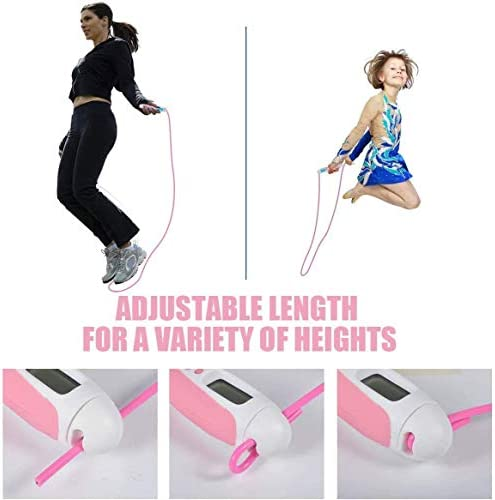 hi stone Jump Rope, Digital Weight Calories Time Setting Jump Rope with Counter for Indoor and Outdoor Exercise Adjustable Skipping Rope Workout for Men,Women,Kids, Girls 6
