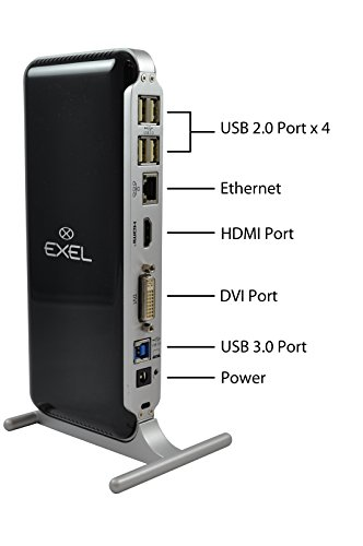 Vga Output Laptop (Exel EXEL-DOCKING-STATION USB 3.0/2.0 Universal Laptop Docking Station with Gigabit Ethernet, HDMI, DVI, VGA Outputs Audio for Windows 10, 8.1, 8, 7, Mac OS and Android 6.0 (OTG) and Higher)