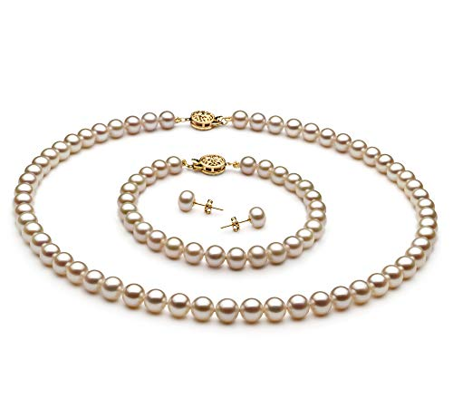 White 6-7mm AAA Quality Freshwater Gold filled Cultured Pearl Set For Women-18 in Princess length