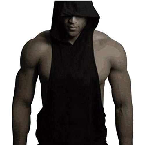 shirt Tank Sport Couleur Noir Uni Casual Gym Décontracté Top Heflashor Débardeur Fitness Homme T À Manches Capuche Bodybuilding Musculation Sans Gilet ZXRXAzT4q