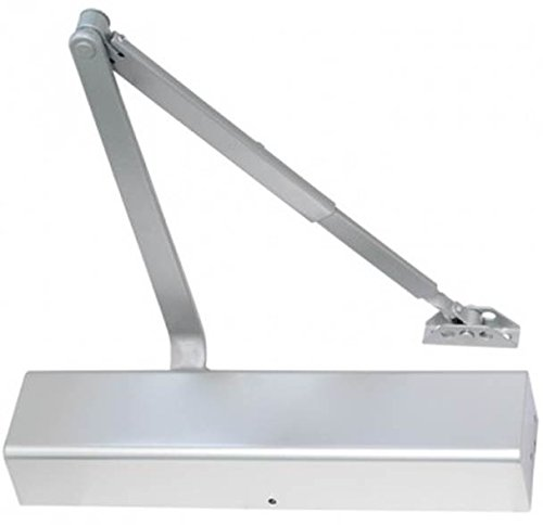 SECO-LARM SD-C101-SBAQ Heavy-Duty Door Closer for Commercial Use, Silver, Max Door Opening Angle-Hinge Side 180°, Cast iron body & forged steel arm, Adjustable sweep & latch speed,