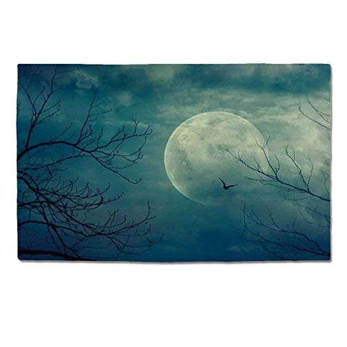 YOLIYANA Horror House Decor Durable Door Mat,Halloween with Full Moon in Sky and Dead Tree Branches Evil Haunted Forest for Home Office,One -