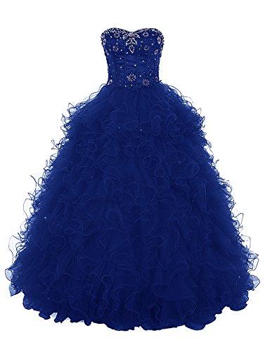 Dresstells®Vestido Princesa Largo Escote Corazón Gala De Noche Fiesta Quinceañera Azul Real